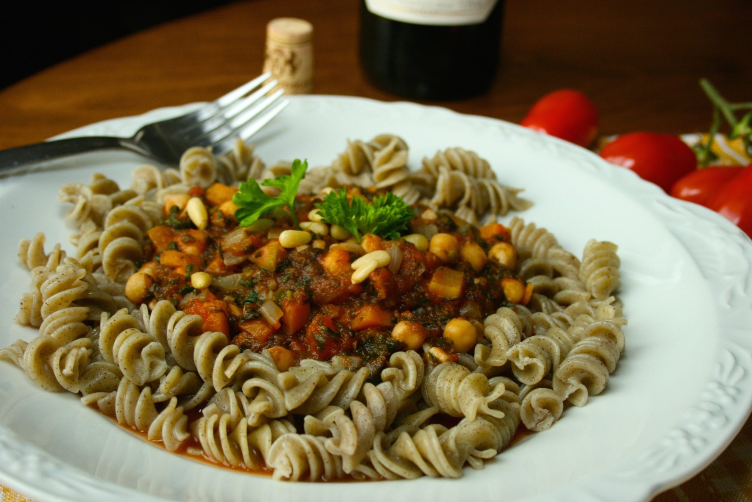 Spinach Tomato Pasta with Chickpeas