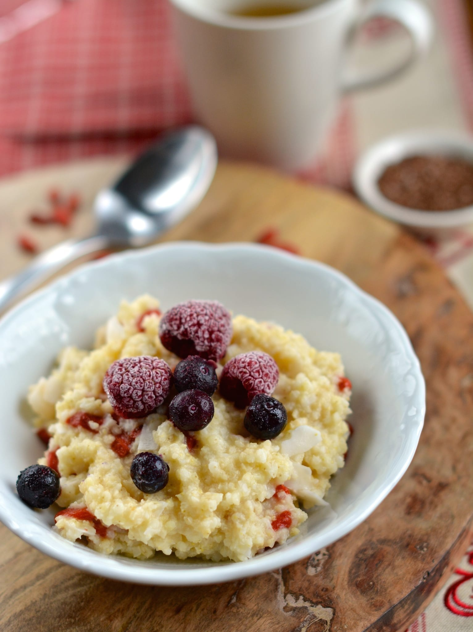 Millet with Blueberries and Raspberries
