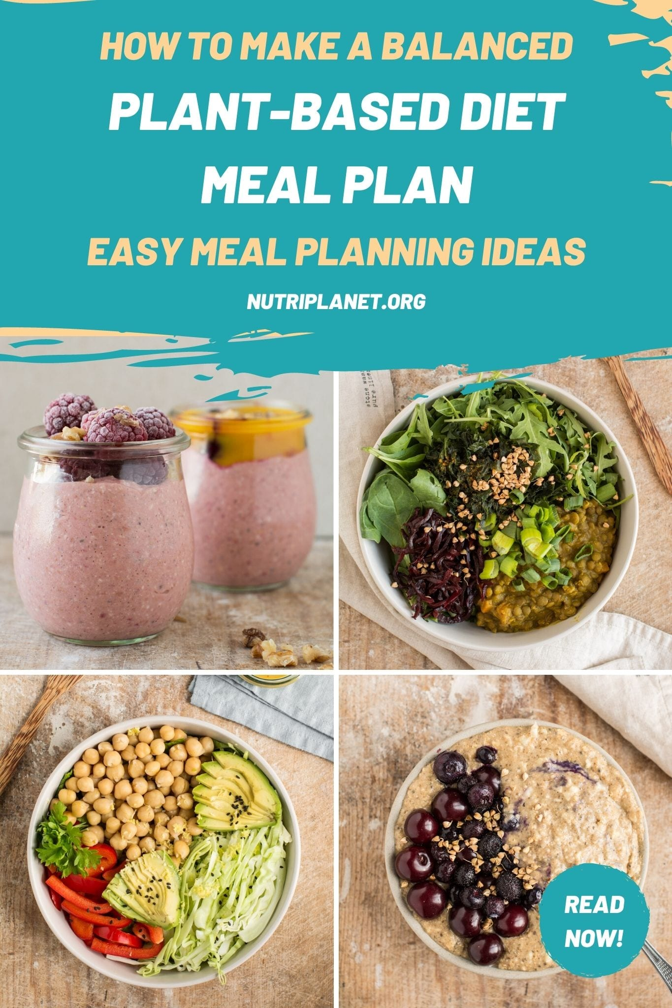 How to make a balanced plant-based diet meal plan. Easy meal planning ideas.
