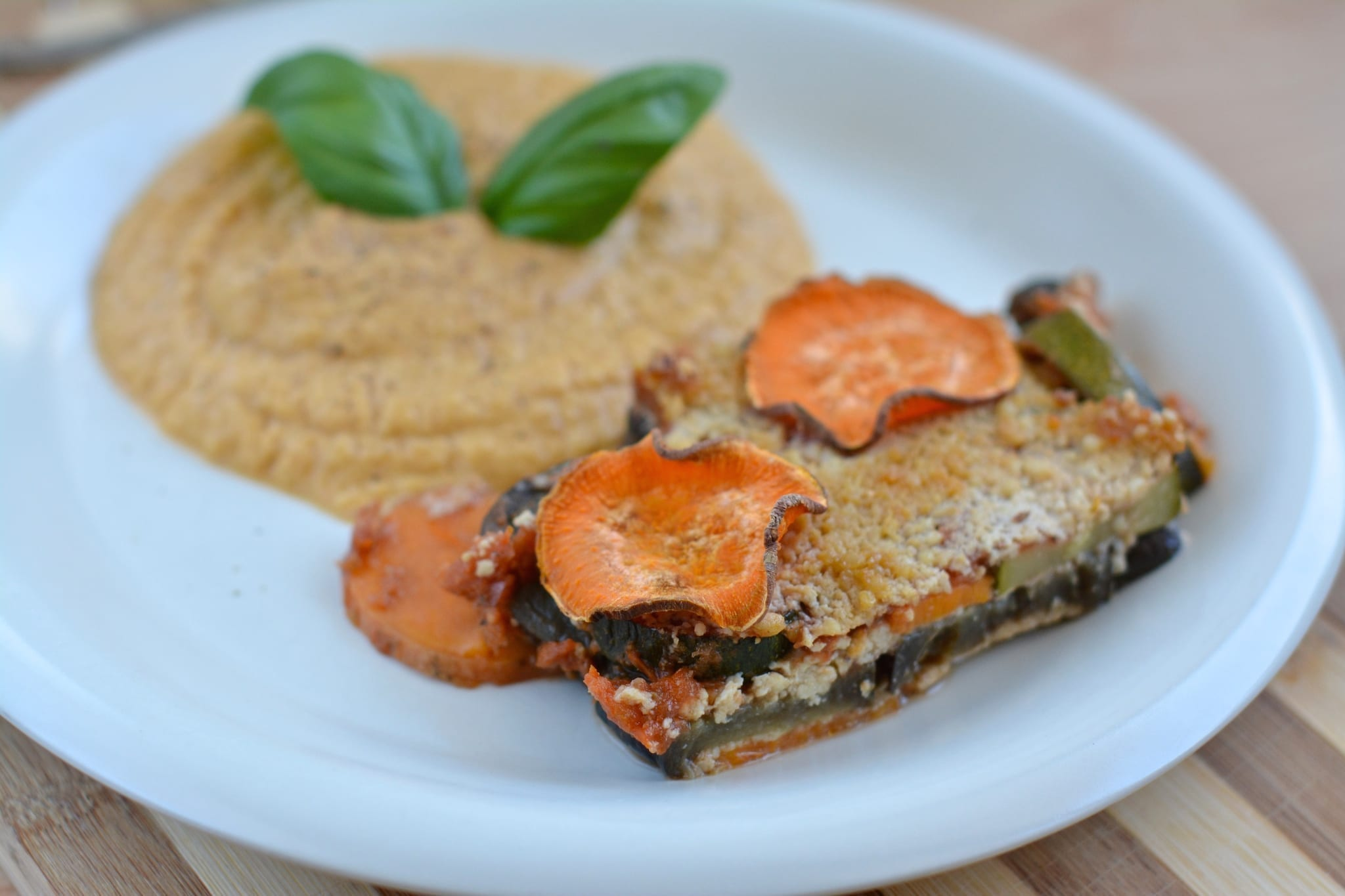 Cheesy Veggie-Sweet Potato-Tomato Casserole with Soft Hummus