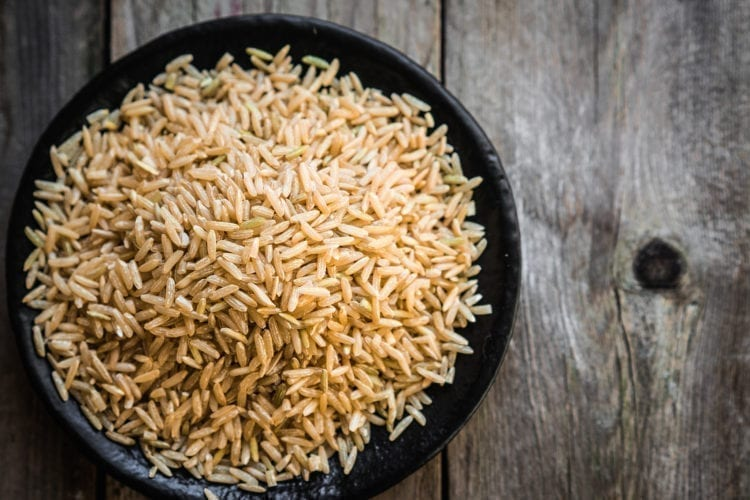 Arsenic in rice. Raw brown rice.