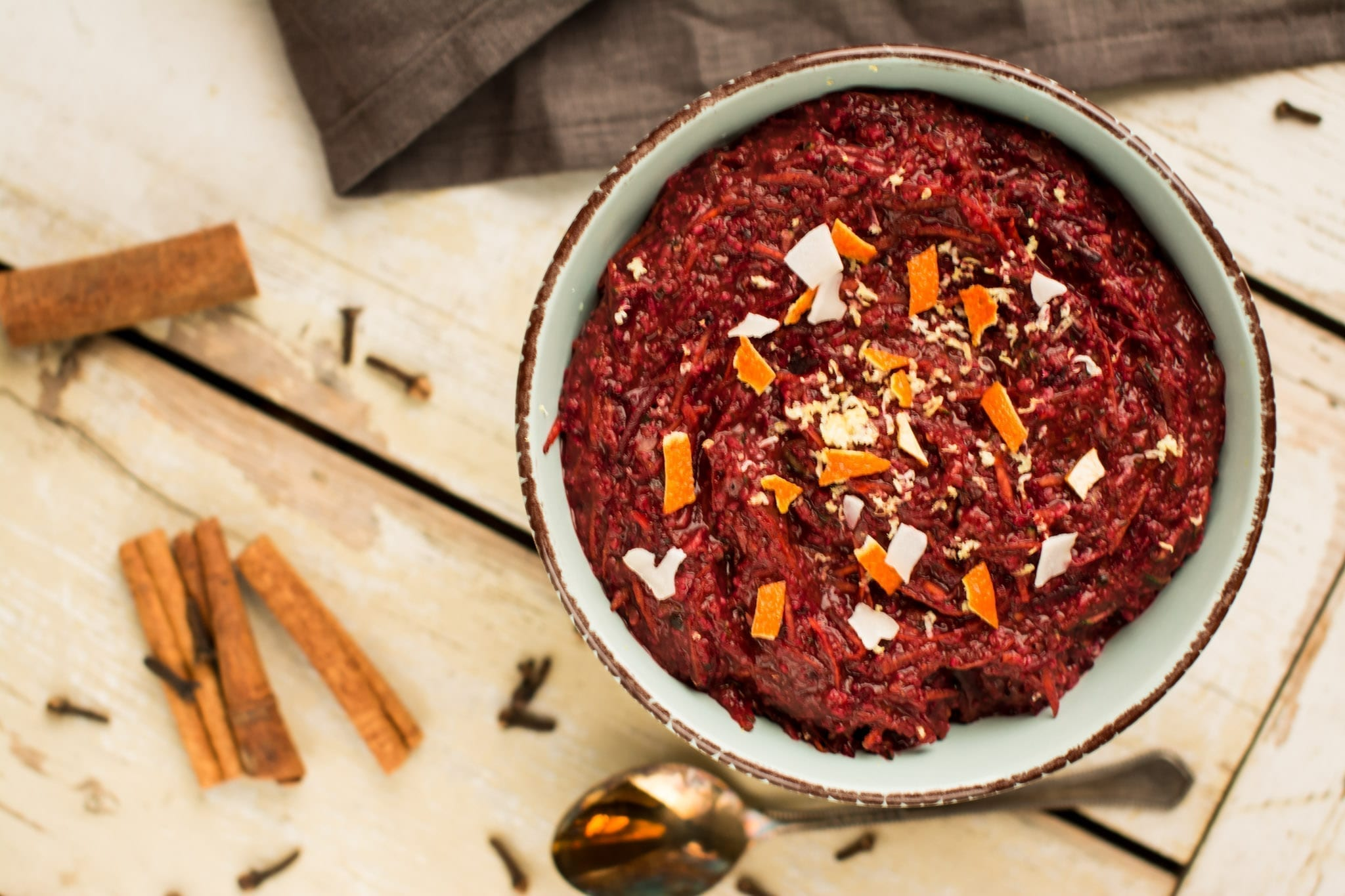 porridge-oat-bran-beet-carrot-zucchini-carob, candida diet recipes