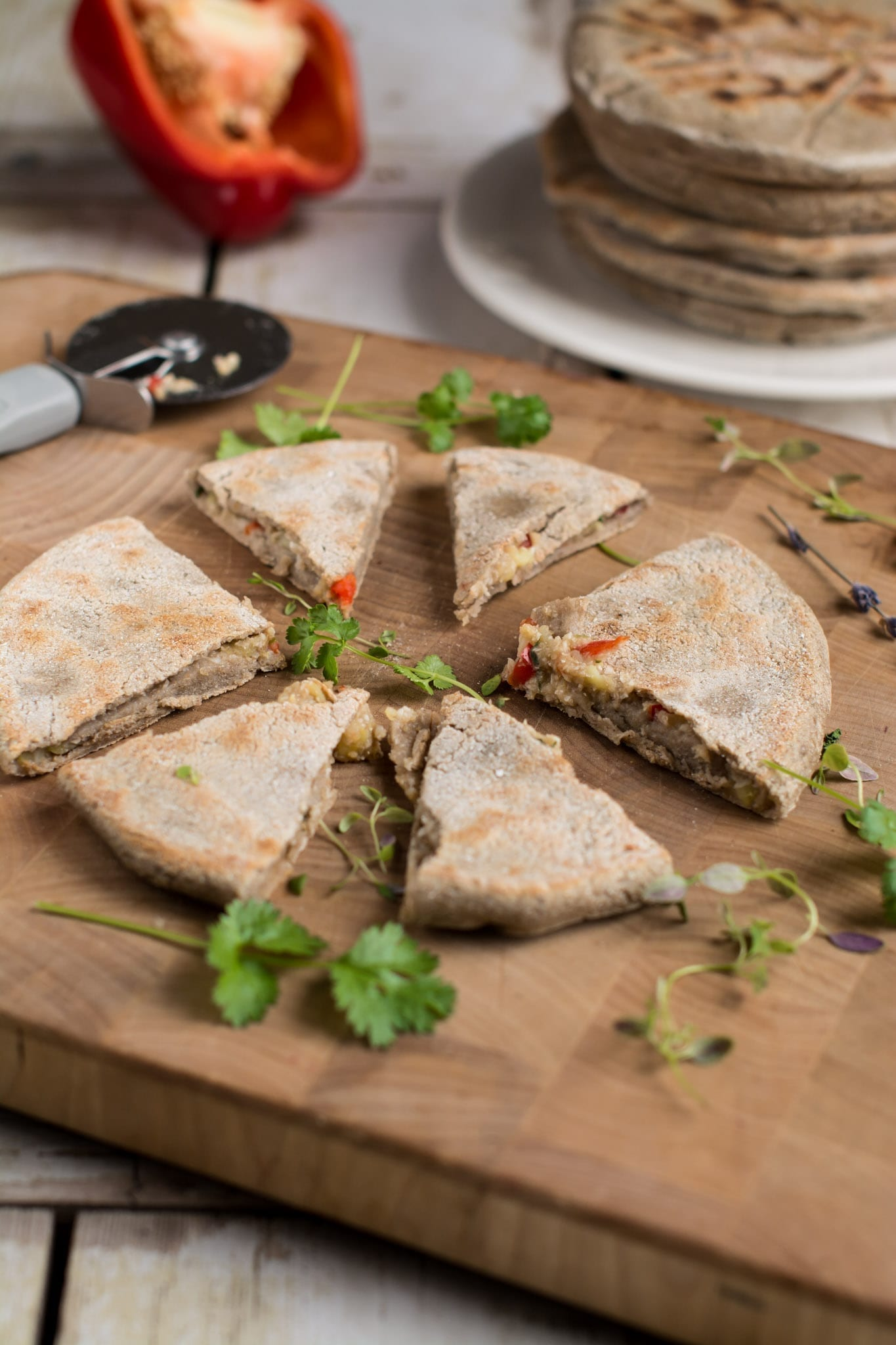 Gluten-free stuffed flatbread paratha with cauliflower-potato filling