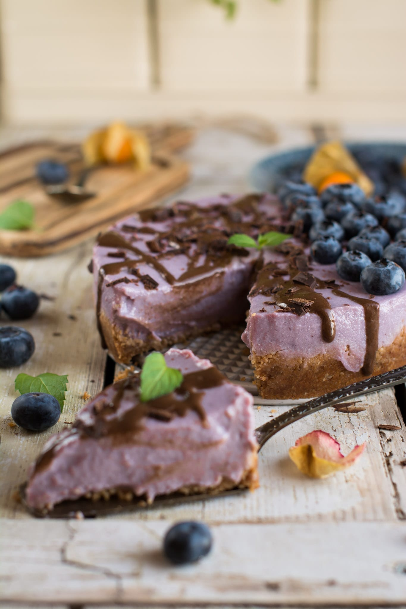 Vegan Tofu Cheesecake with Purple Yams and Creamed Coconut, Oil-Free & Gluten-Free