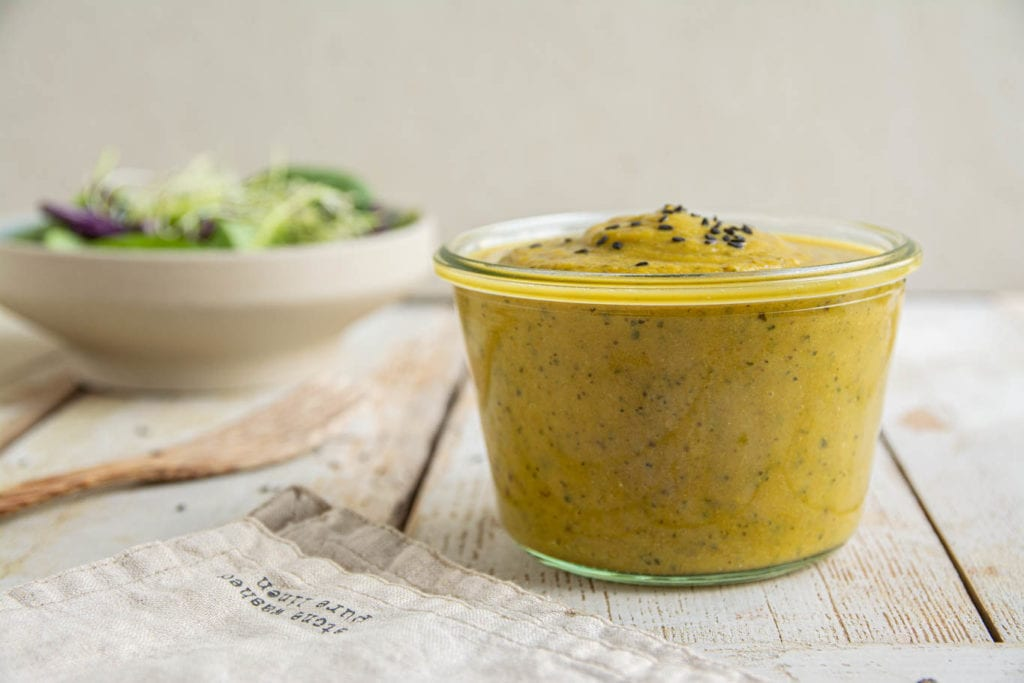 Simple and delicious oil-free vegan salad dressing made with oven-roasted eggplant, zucchini and carrot. What's more is that this dressing recipe is also gluten-free and low glycemic.