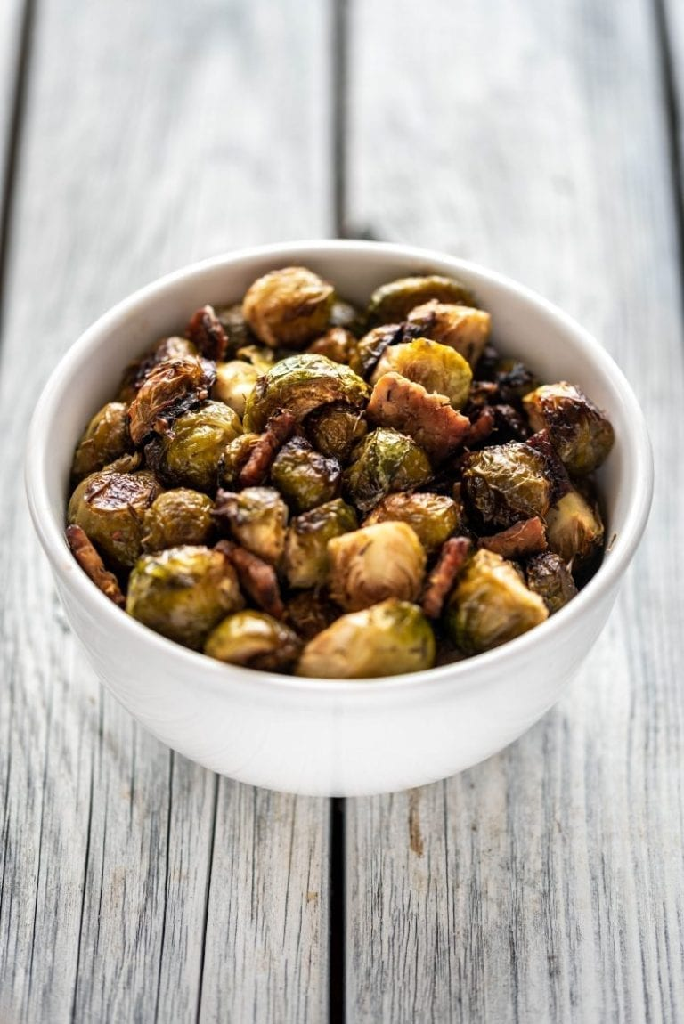 Vegan Christmas dinner Maple Roasted Brussels Sprouts with Tempeh