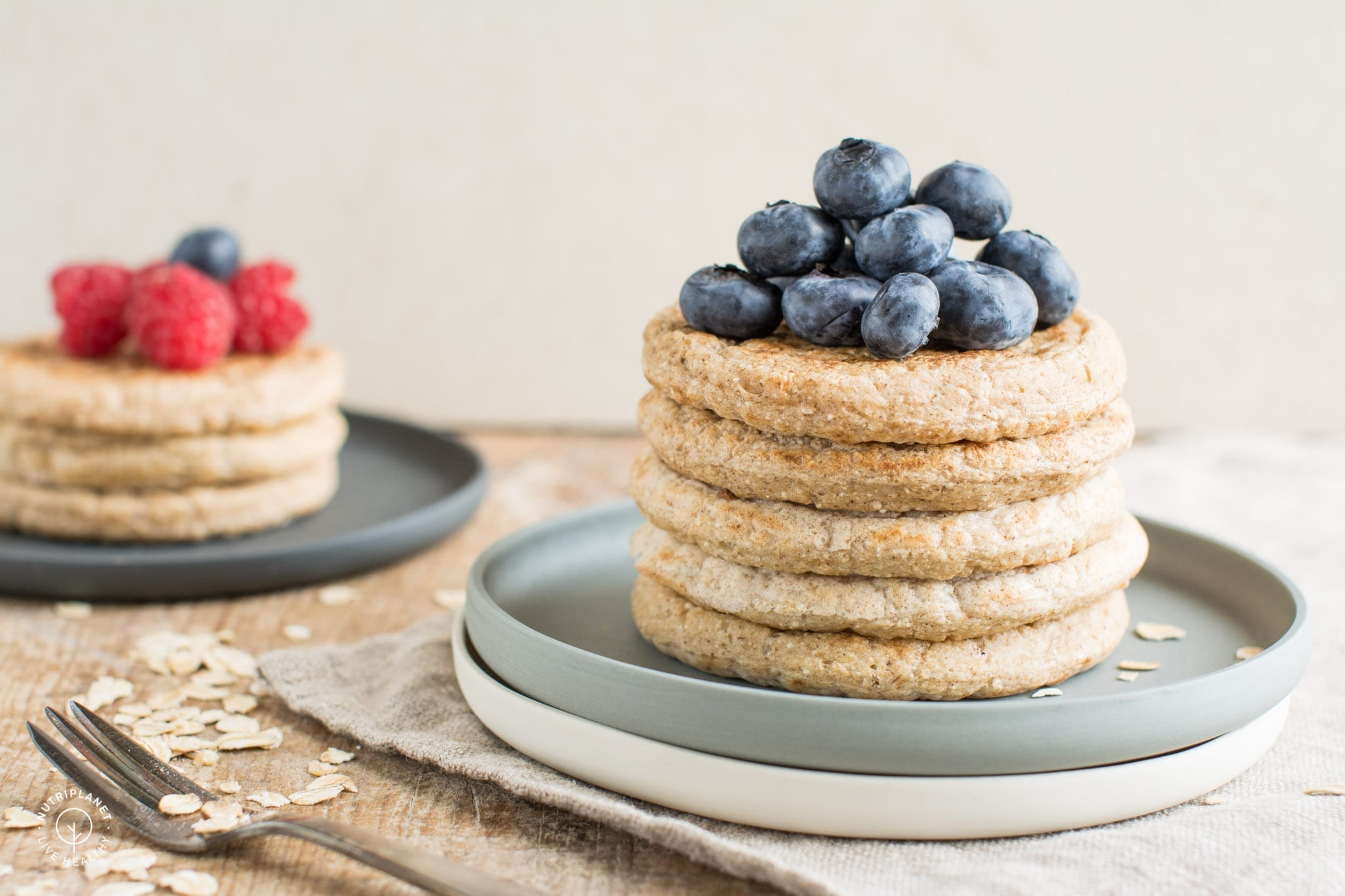 Light and fluffy vegan oatmeal pancakes with coconut flour