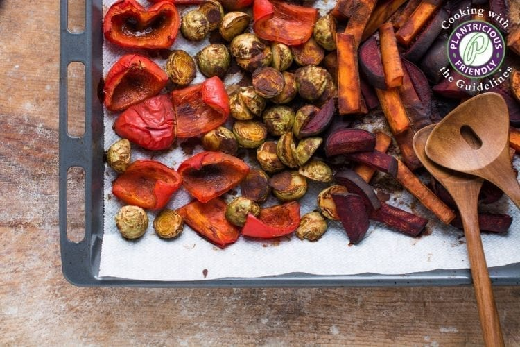 Super healthy oil-free miso roasted vegetables that make an excellent side dish to any festive gathering or brighten up your weekday meal.