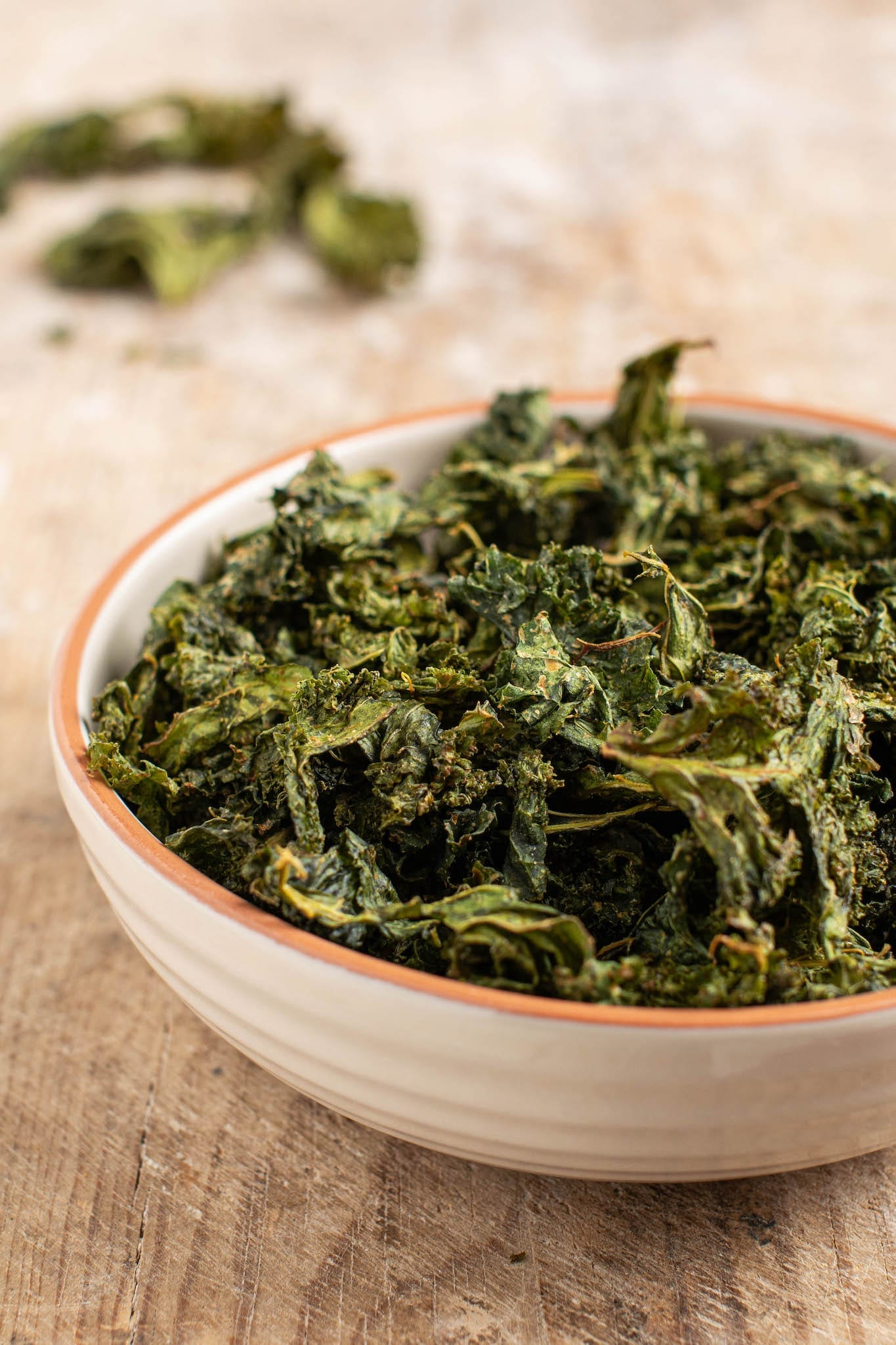 Try those delicious baked kale chips that are also oil-free. It's a great recipe for a healthy snack instead of potato chips for when you crave something crispy and a bit salty