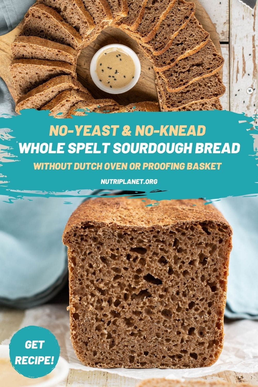 Learn how to make no-knead whole grain spelt sourdough bread with simple equipment in only 8 hours.