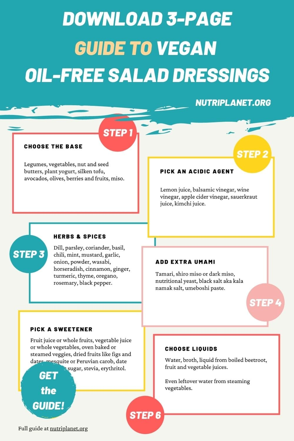 Download a printable step-by-step guide of how to make vegan oil-free salad dressings.