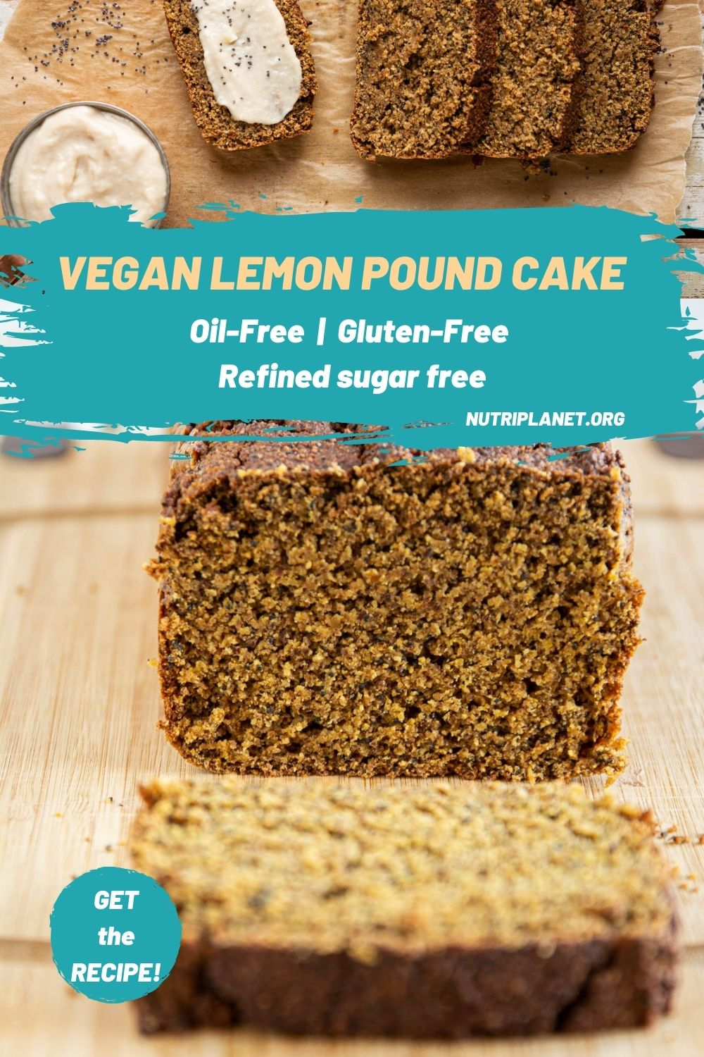 Learn how to make refined sugar free, oil-free and gluten-free vegan lemon pound cake with poppy seeds and vegan lemon custard cream. Suitable on Candida diet.